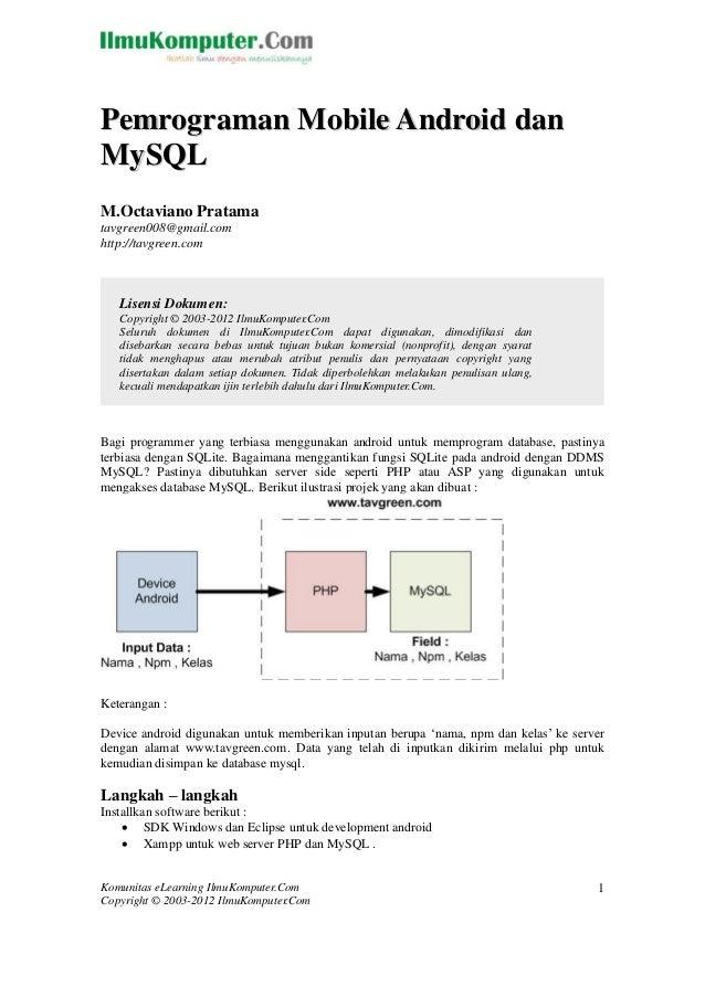 Pemrograman Mobile Android danMySQLM.Octaviano Pratamatavgreen008@gmail.comhttp://tavgreen.com   Lisensi Dokumen:   Copyri...