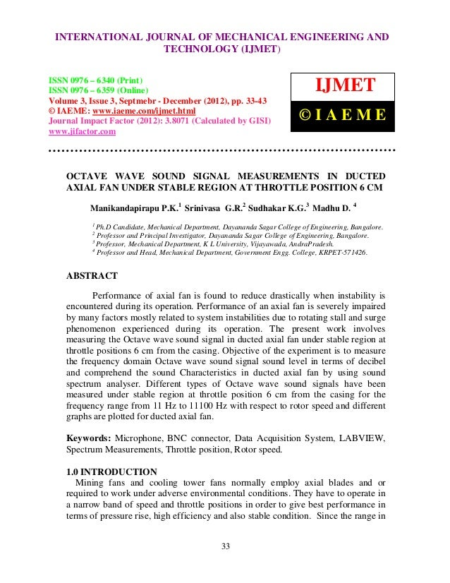 INTERNATIONAL JOURNAL OF MECHANICAL ENGINEERING AND   International Journal of Mechanical Engineering and Technology (IJME...
