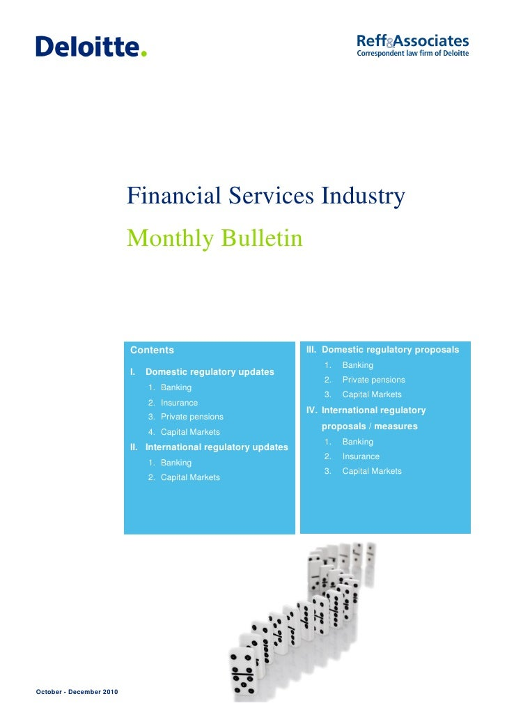 Financial Services Industry                          Monthly Bulletin                          Contents                   ...