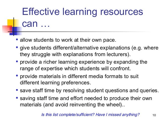 Effective Learning Resources