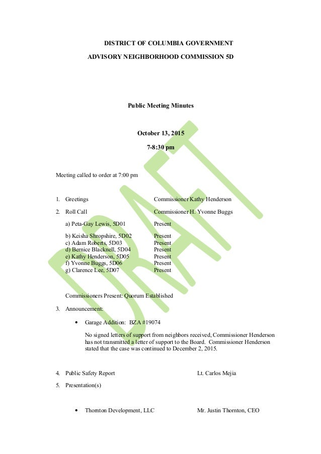 Anc 5D October 13 Meeting Minutes (Draft)