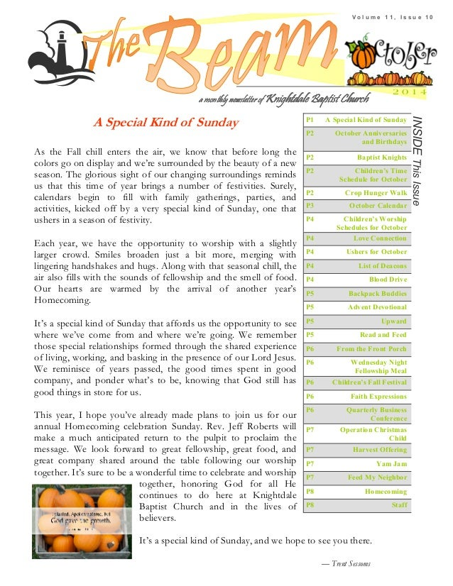 Knightdale Baptist Church October 2014 Newsletter. V O L U M E 1 1 , I S S  U E 1 0 2 0 1 4 INSIDE This Issue ...