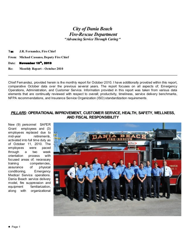 "City of Dania Beach Fire-Rescue Department ""Advancing Service Through Caring "" To: J.R. Fernandez, Fire Chief From: Michae..."