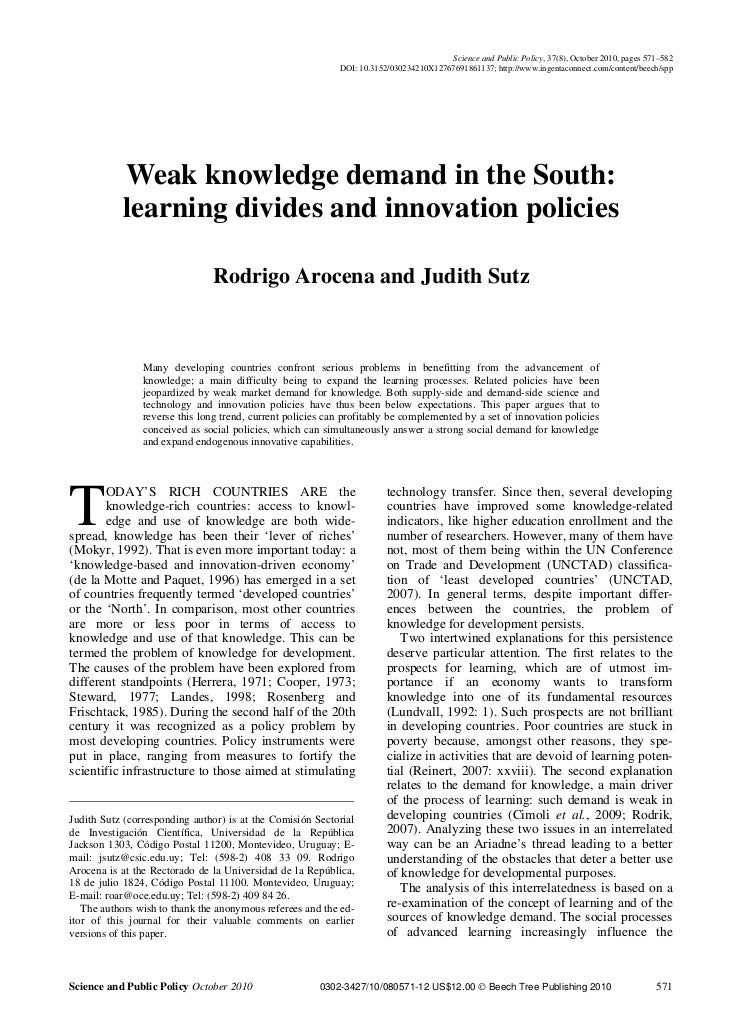 Science and Public Policy, 37(8), October 2010, pages 571–582                                                            D...