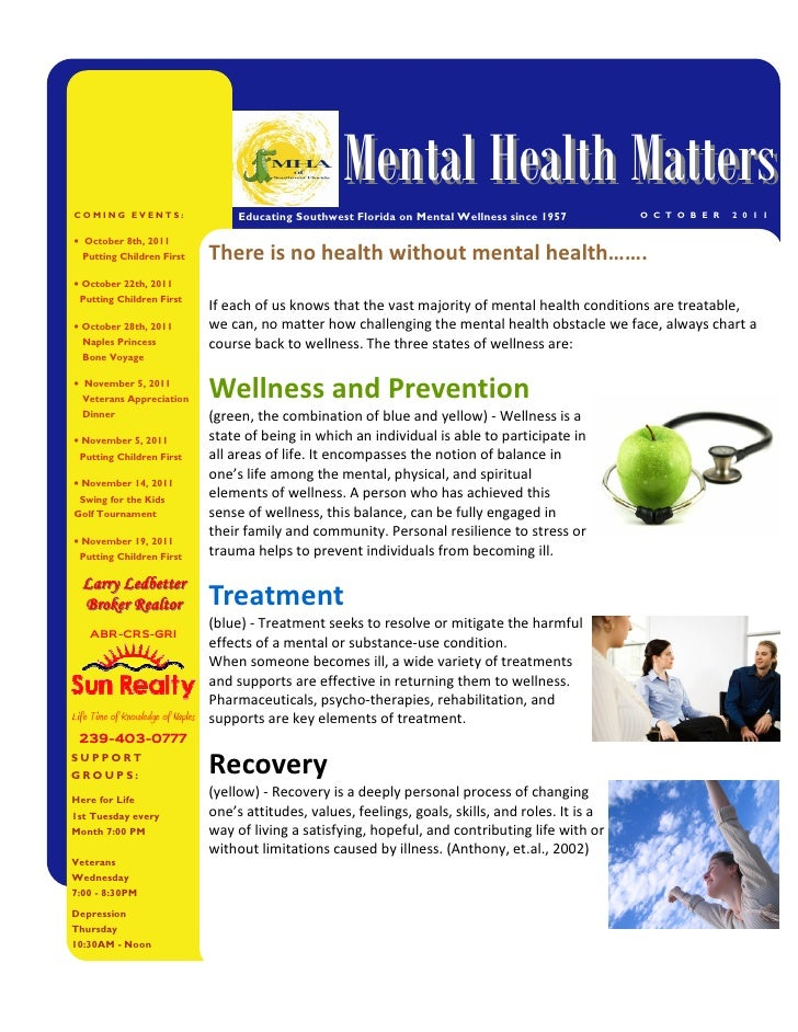Mental Health MattersCOMING EVENTS:                  Educating Southwest Florida on Mental Wellness since 1957         O C...