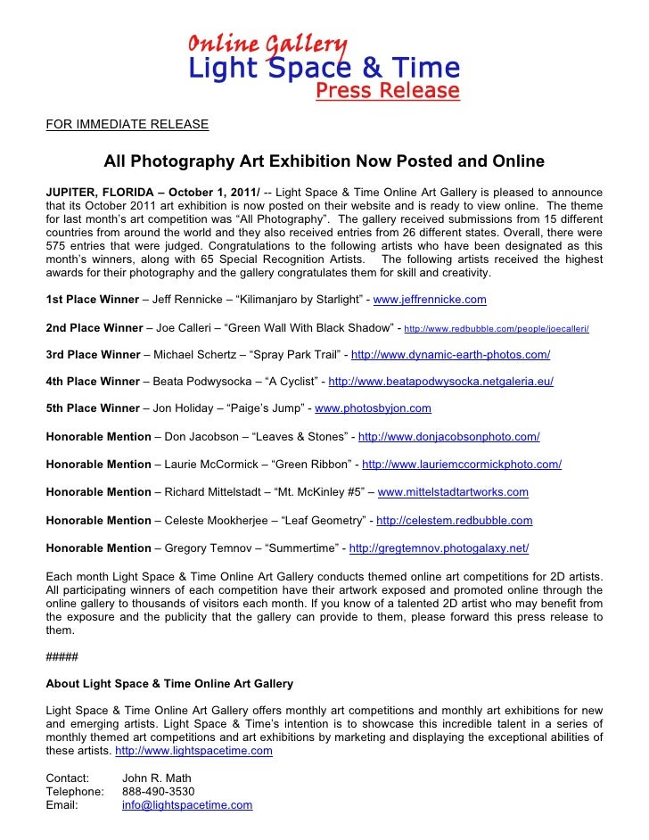 FOR IMMEDIATE RELEASE           All Photography Art Exhibition Now Posted and OnlineJUPITER, FLORIDA – October 1, 2011/ --...