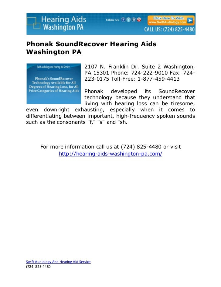 Phonak SoundRecover Hearing AidsWashington PA                                   2107 N. Franklin Dr. Suite 2 Washington,  ...