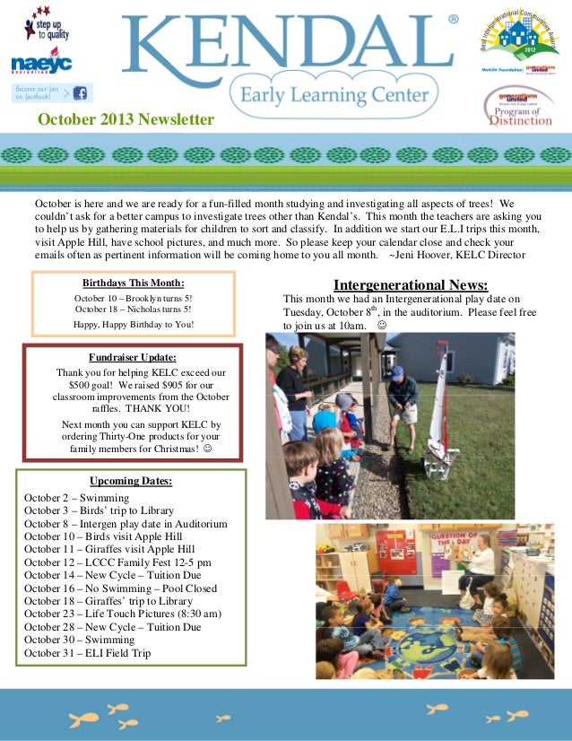 October 2013 Newsletter  October is here and we are ready for a fun-filled month studying and investigating all aspects of...
