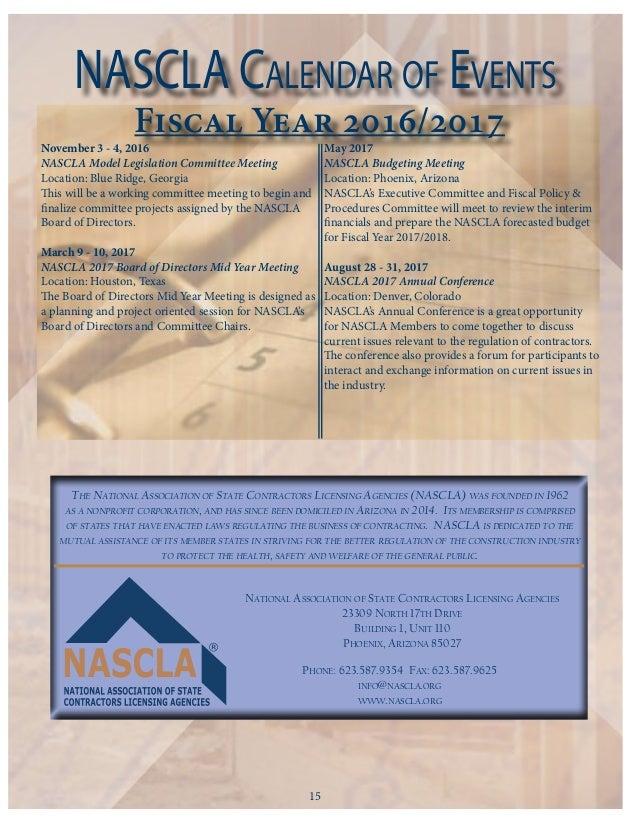 NASCLA Newsletter | October 2016 Edition