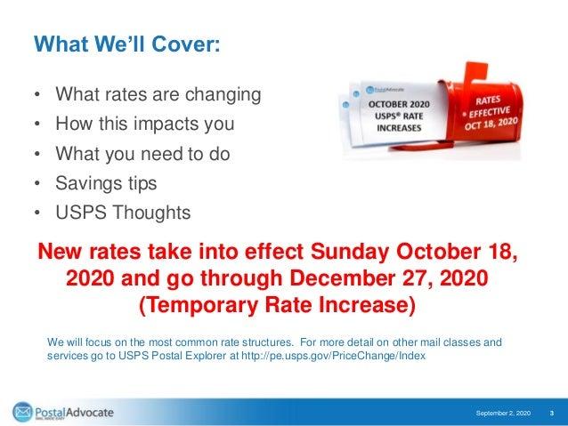October 2020 USPS® Rate Change Slide 3
