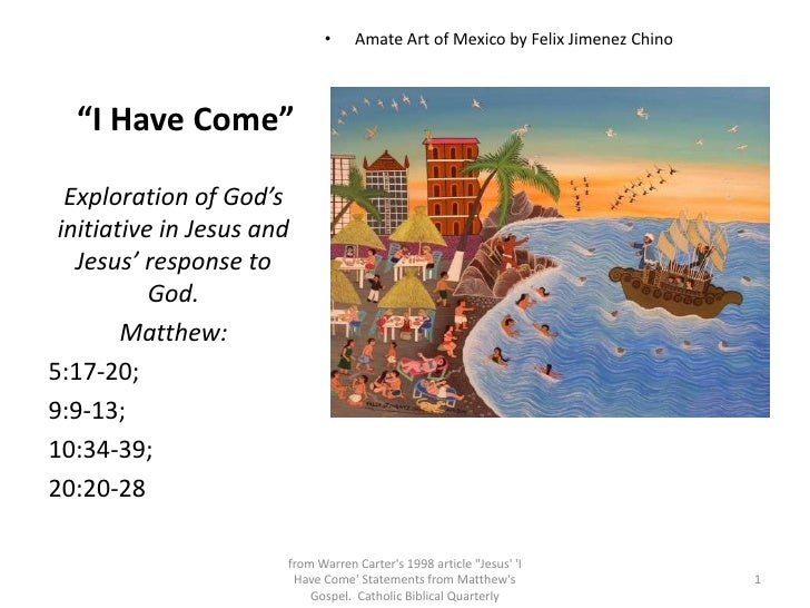"""I Have Come"" <br />Amate Art of Mexico by Felix Jimenez Chino<br />Exploration of God's initiative in Jesus and Jesus'..."