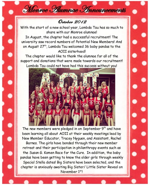 October 2012 With the start of a new school year, Lambda Tau has so much to share with our Monroe alumnae! In August, the ...