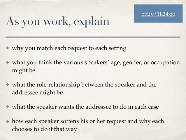 As you work, explain ✤ why you match each request to each setting ✤ what you think the various speakers' age, gender, or o...