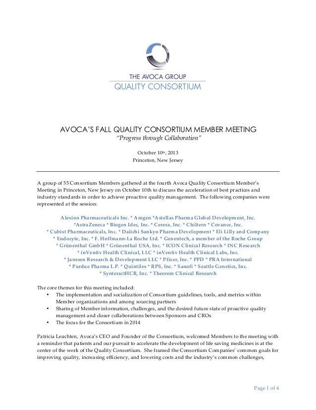 "AVOCA'S FALL QUALITY CONSORTIUM MEMBER MEETING  ""Progress through Collaboration""     October 10th, 2013  P..."