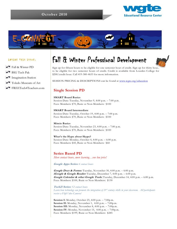 October 2010  E-CONNECTINSIDE THIS ISSUE:                              Fall & Winter Professional Development  Fall & Wint...