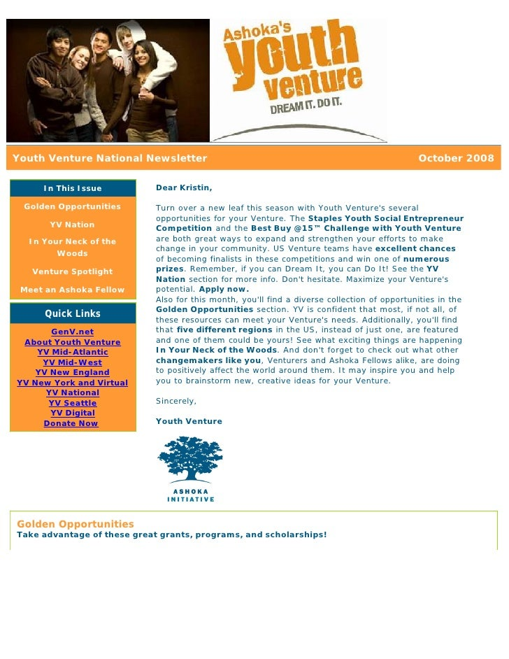 Youth Venture National Newsletter                                                             October 2008       In This I...