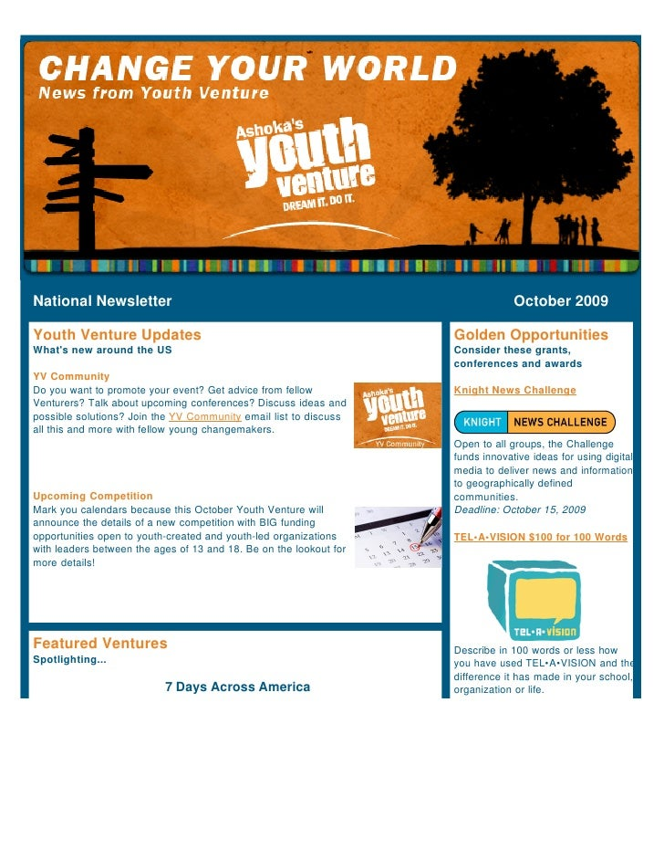 National Newsletter                                                              October 2009  Youth Venture Updates      ...