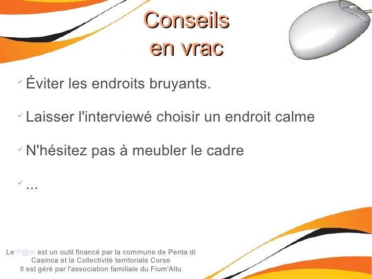 Conseils en vrac Le  [email_address]  est un outil financé par la commune de Penta di Casinca et la Collectivité territori...