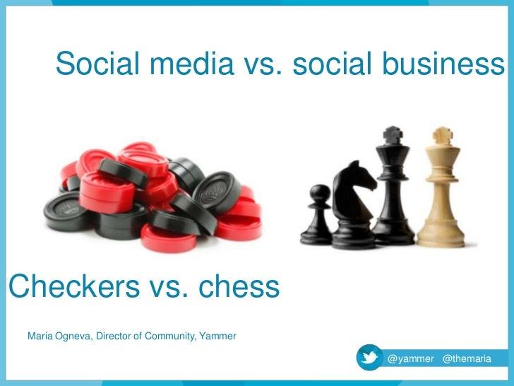 Social media vs. social businessCheckers vs. chess Maria Ogneva, Director of Community, Yammer                            ...