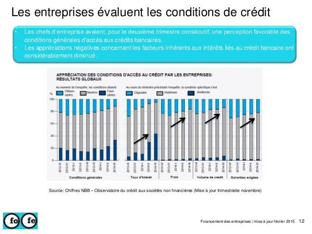 Les entreprises évaluent les conditions de crédit Financement des entreprises | mise à jour février 2015 12 • Les chefs d'...