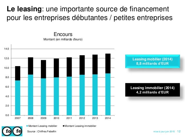 Le leasing: une importante source de financement pour les entreprises débutantes / petites entreprises Source : Chiffres F...