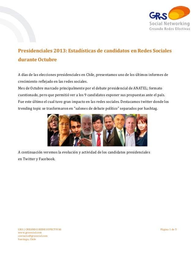 Presidenciales 2013: Estadísticas de candidatos en Redes Sociales durante Octubre A días de las elecciones presidenciales ...