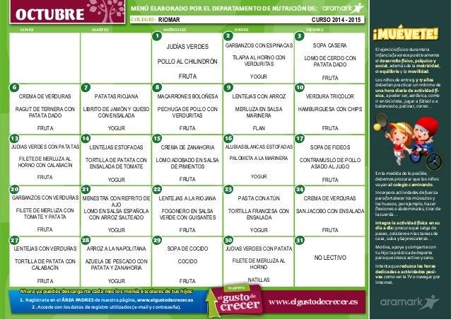 MENÚ ELABORADO POR EL DEPARTAMENTO DE NUTRICIÓN DE:  OCTUBRE COLEGIO:  LUNES MARTES MIÉRCOLES JUEVES VIERNES  6  13  20  7...