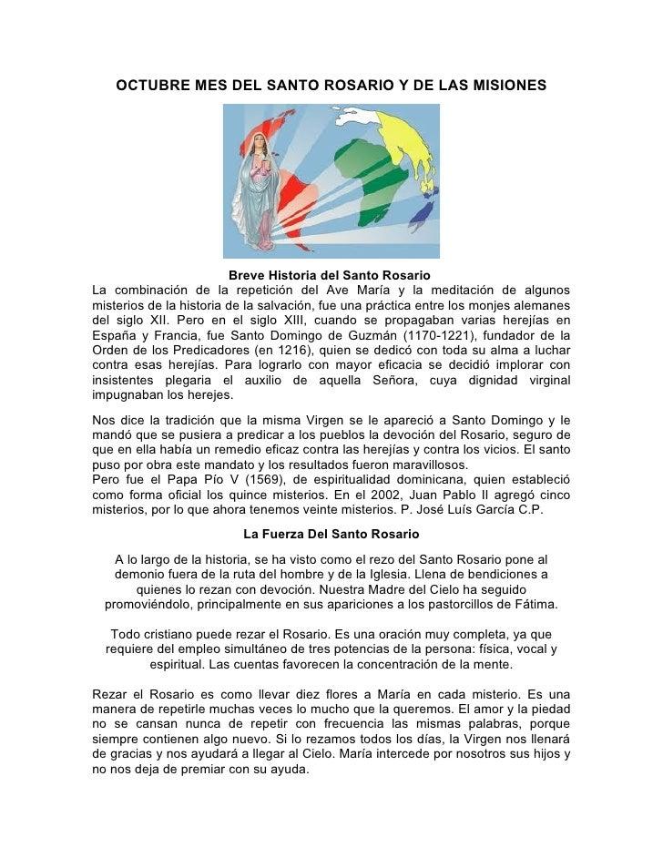OCTUBRE: MES DEL SANTO ROSARIO Y DE LAS MISIONES