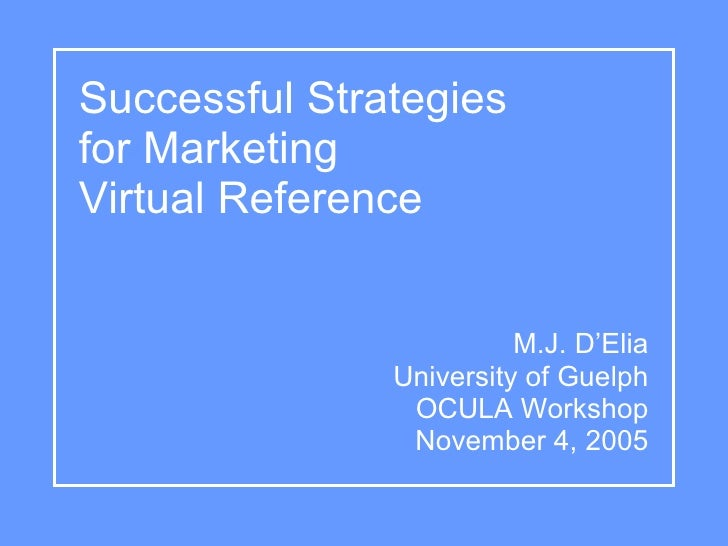 Successful Strategies for Marketing Virtual Reference                            M.J. D'Elia                University of ...