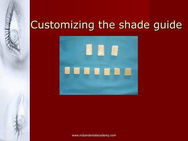Customizing the shade guideCustomizing the shade guide www.indiandentalacademy.comwww.indiandentalacademy.com
