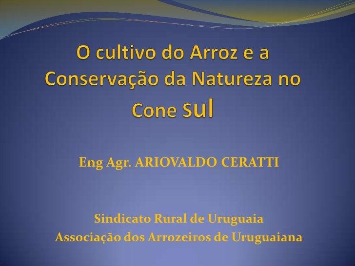 O cultivo do Arroz e a Conservação da Natureza no Cone Sul<br />Eng Agr. ARIOVALDO CERATTI<br />Sindicato Rural de Uruguai...