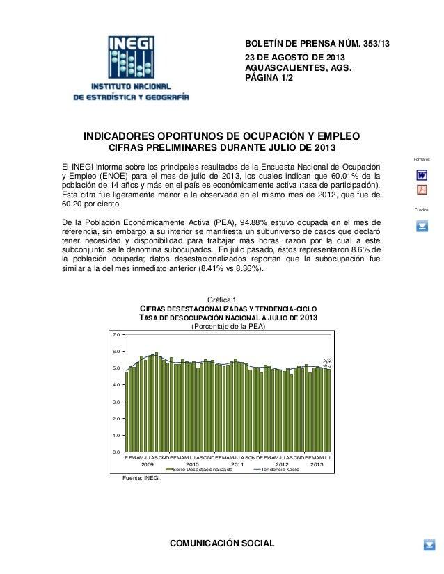 COMUNICACIÓN SOCIAL BOLETÍN DE PRENSA NÚM. 353/13 23 DE AGOSTO DE 2013 AGUASCALIENTES, AGS. PÁGINA 1/2 INDICADORES OPORTUN...