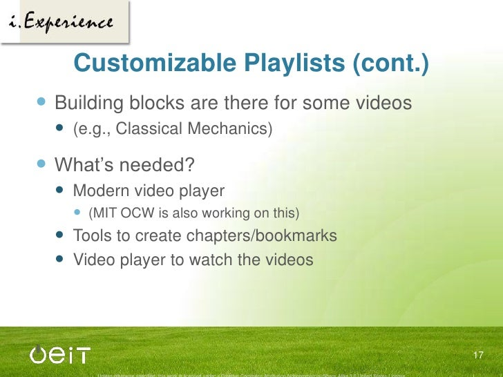 3 Mini-Projects<br />Customizable playlists<br />Improved video and transcript integration<br />Integrated recommender sys...
