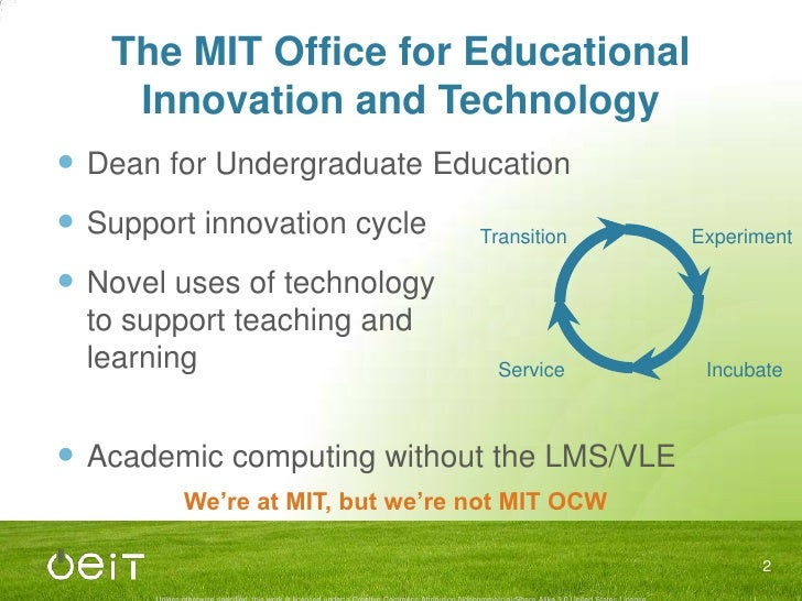 The MIT Office for Educational Innovation and Technology<br />Dean for Undergraduate Education<br />Support innovation cyc...