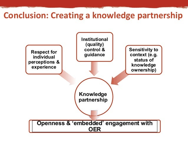 Conclusion: Creating a knowledge partnership  Knowledge  partnership  Respect for  individual  perceptions &  experience  ...