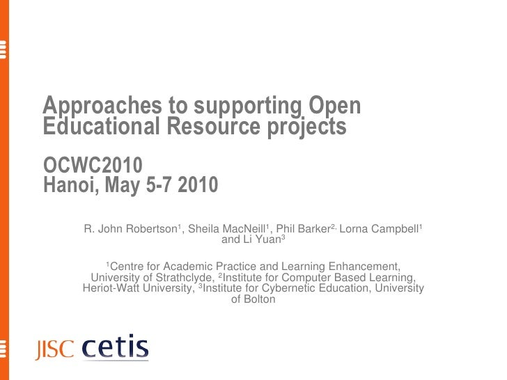 Approaches to supporting Open Educational Resource projects