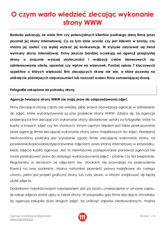 Agencja interaktywna Migomedia  www.migomedia.pl  Strona 1 z 6  O czym warto wiedzieć zlecając wykonanie strony WWW  Badan...