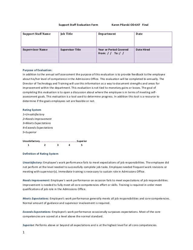 Staff Evaluation Form – Staff Evaluation