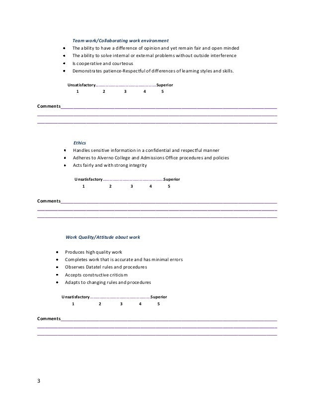 Staff Evaluation Form
