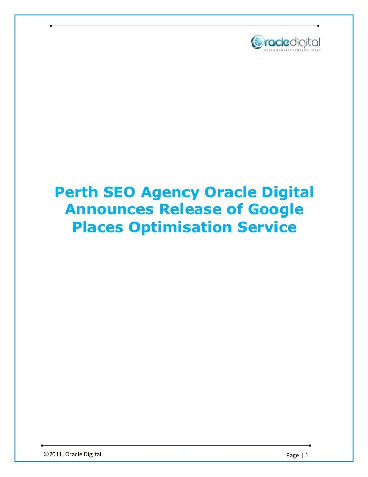 Perth SEO Agency Oracle Digital    Announces Release of Google     Places Optimisation Service©2011, Oracle Digital       ...