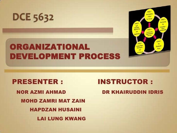 DCE 5632<br />ORGANIZATIONAL <br />DEVELOPMENT PROCESS<br />PRESENTER :<br />INSTRUCTOR :<br />NOR AZMI AHMAD<br />DR KHAI...