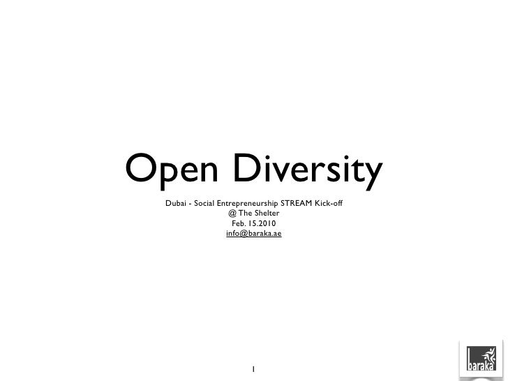 Open Diversity   Dubai - Social Entrepreneurship STREAM Kick-off                     @ The Shelter                      Fe...