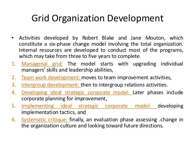 grid organization development The need for organizational development (od) arises in the context of changes   traditional techniques consist of sensitivity training or a group approach, grid.