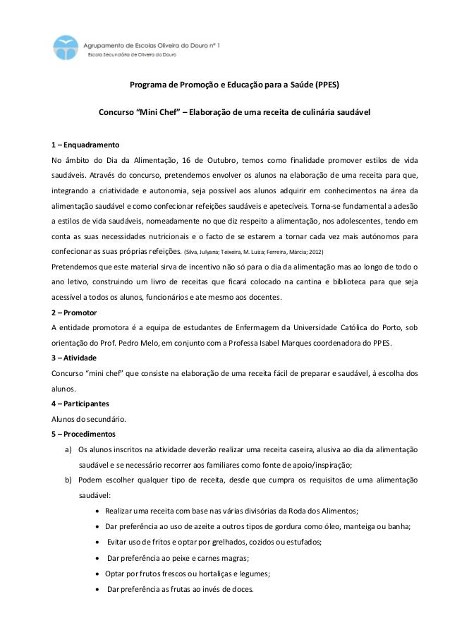 """Programa de Promoção e Educação para a Saúde (PPES)                 Concurso """"Mini Chef"""" – Elaboração de uma receita de cu..."""
