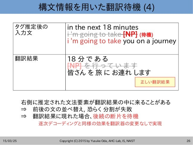 15/03/25 Copyright (C) 2015 by Yusuke Oda, AHC-Lab, IS, NAIST 26 構文情報を用いた翻訳待機 (4) タグ推定後の 入力文 in the next 18 minutes i 'm g...