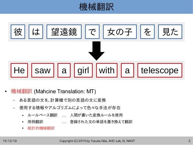 15/12/10 Copyright (C) 2015 by Yusuke Oda, AHC-Lab, IS, NAIST 2 機械翻訳 ● 機械翻訳 (Mahcine Translation: MT) – ある言語の文を、計算機で別の言語の文...
