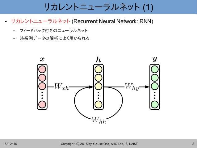 15/12/10 Copyright (C) 2015 by Yusuke Oda, AHC-Lab, IS, NAIST 8 リカレントニューラルネット (1) ● リカレントニューラルネット (Recurrent Neural Networ...