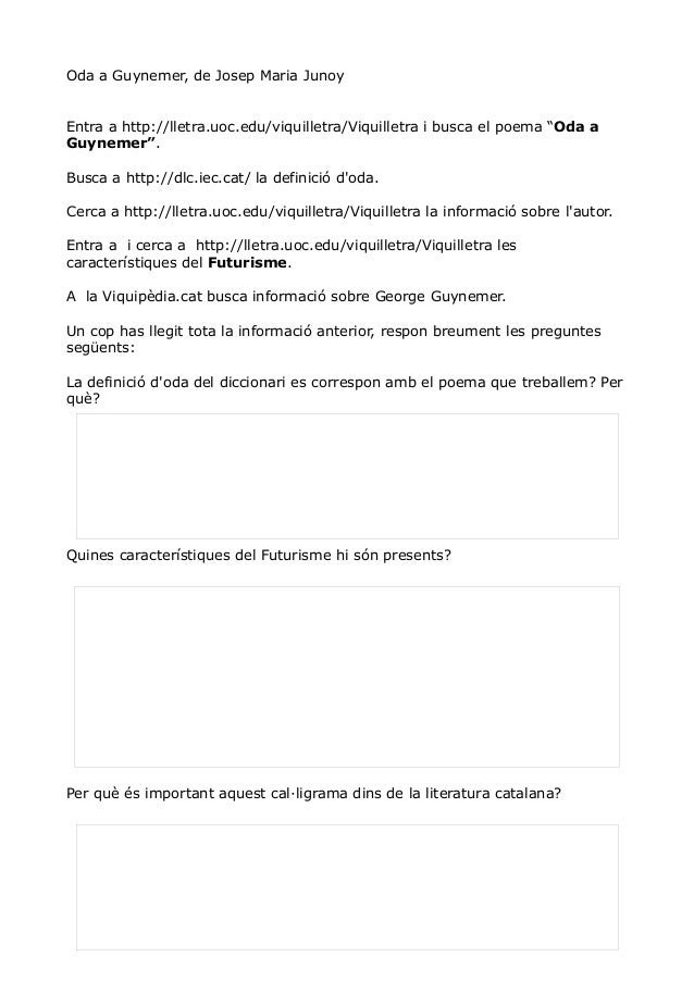 "Oda a Guynemer, de Josep Maria Junoy Entra a http://lletra.uoc.edu/viquilletra/Viquilletra i busca el poema ""Oda a Guyneme..."