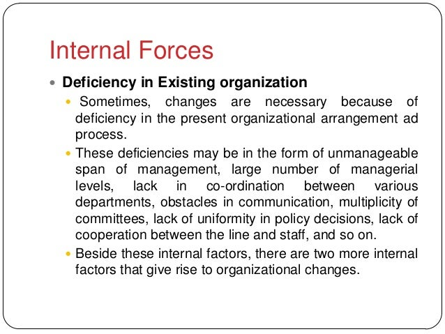 Internal Forces Deficiency in Existing organization   Sometimes,      changes are necessary because of    deficiency in ...
