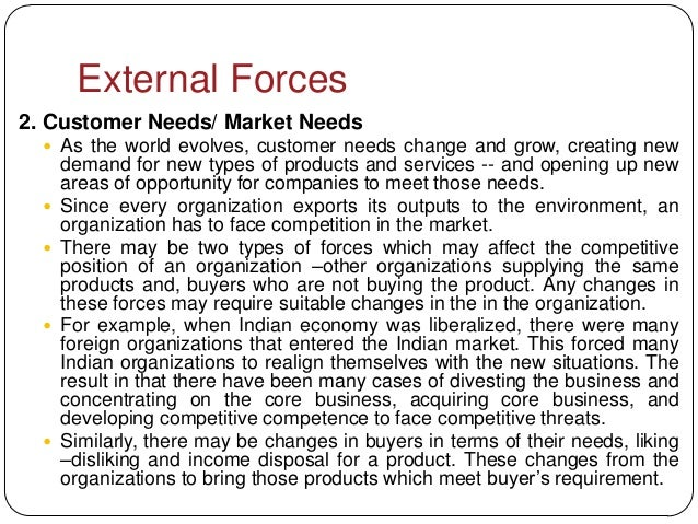External Forces2. Customer Needs/ Market Needs   As the world evolves, customer needs change and grow, creating new      ...